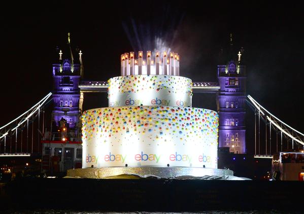 eBay 20th Birthday cake sails the Thames